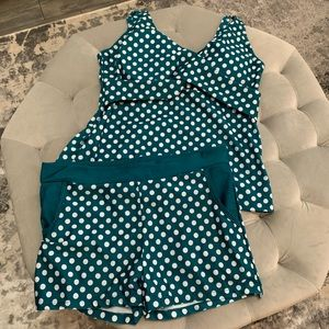 Polka Dot Teal and White Bathing Suit